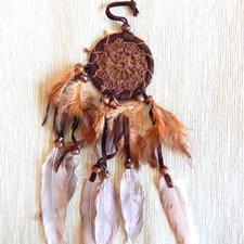 Lapač snov - háčkovaný hnedý 6cm