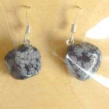 Náušnice - Obsidián kameň/ tromel