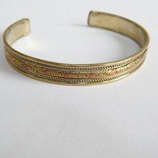 Náramok - zlatý pletený s meďou